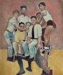 Unknown (Athlete supporting seven youths)